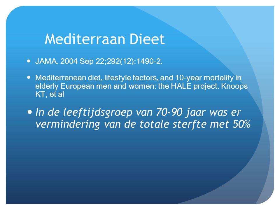 Mediterraan Dieet JAMA. 2004 Sep 22;292(12):1490-2.