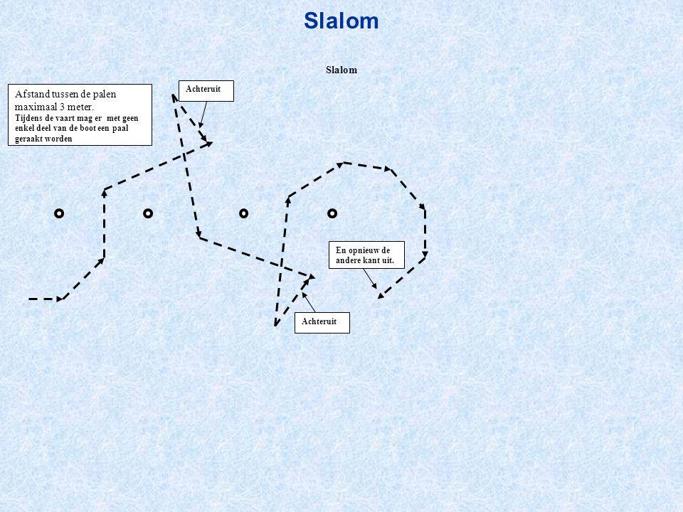 Slalom Slalom Afstand tussen de palen maximaal 3 meter. Achteruit