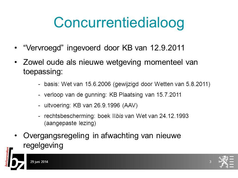 Concurrentiedialoog Vervroegd ingevoerd door KB van 12.9.2011