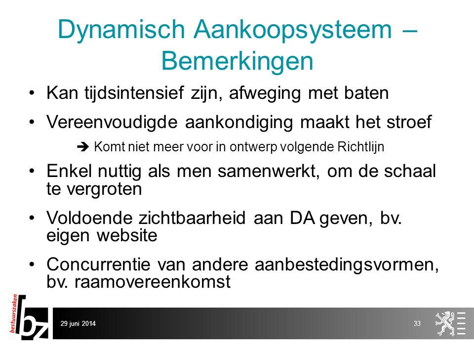 Dynamisch Aankoopsysteem – Bemerkingen