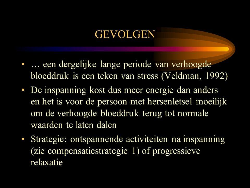 GEVOLGEN … een dergelijke lange periode van verhoogde bloeddruk is een teken van stress (Veldman, 1992)