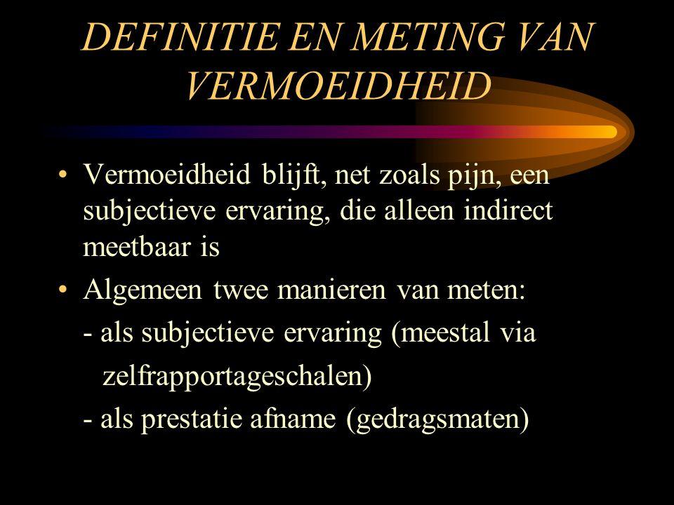 DEFINITIE EN METING VAN VERMOEIDHEID