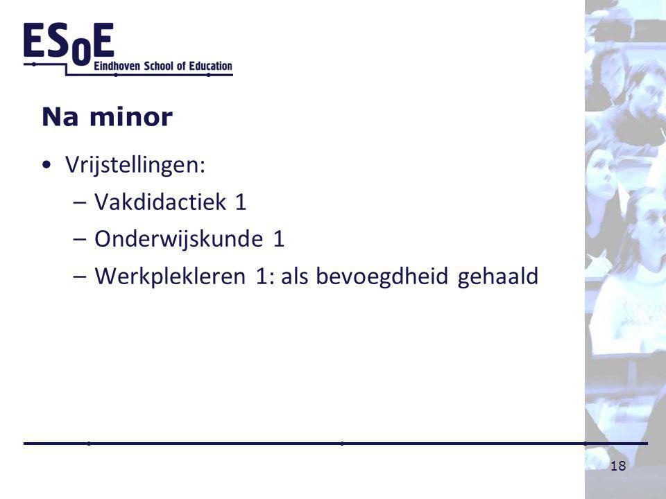 Na minor Vrijstellingen: Vakdidactiek 1 Onderwijskunde 1 Werkplekleren 1: als bevoegdheid gehaald