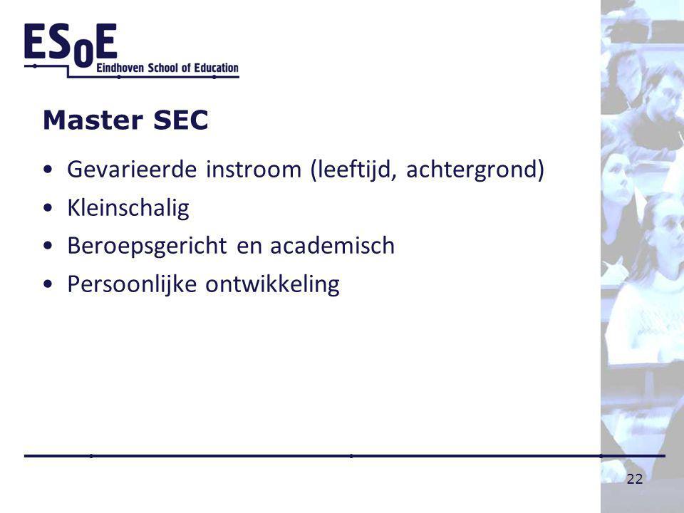 Master SEC Gevarieerde instroom (leeftijd, achtergrond) Kleinschalig. Beroepsgericht en academisch.