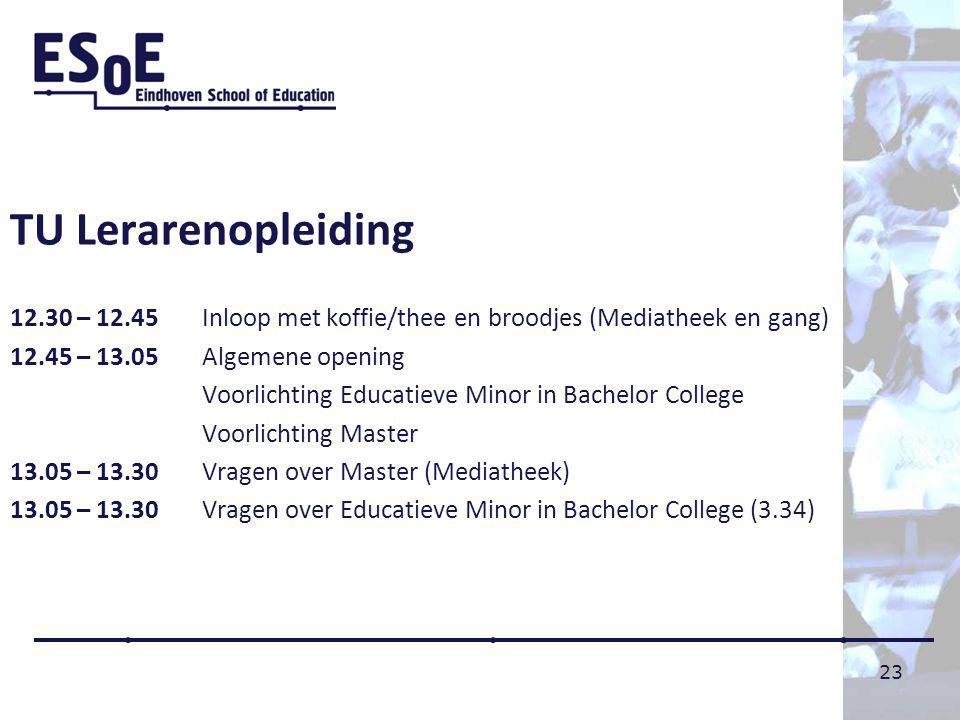 TU Lerarenopleiding 12.30 – 12.45 Inloop met koffie/thee en broodjes (Mediatheek en gang) 12.45 – 13.05 Algemene opening.