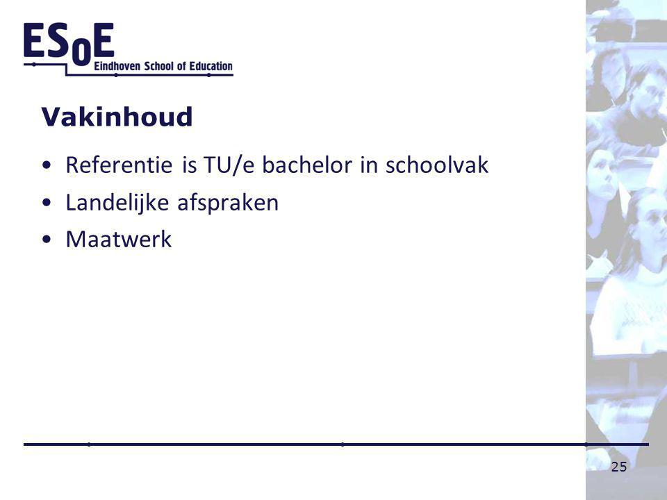 Vakinhoud Referentie is TU/e bachelor in schoolvak Landelijke afspraken Maatwerk