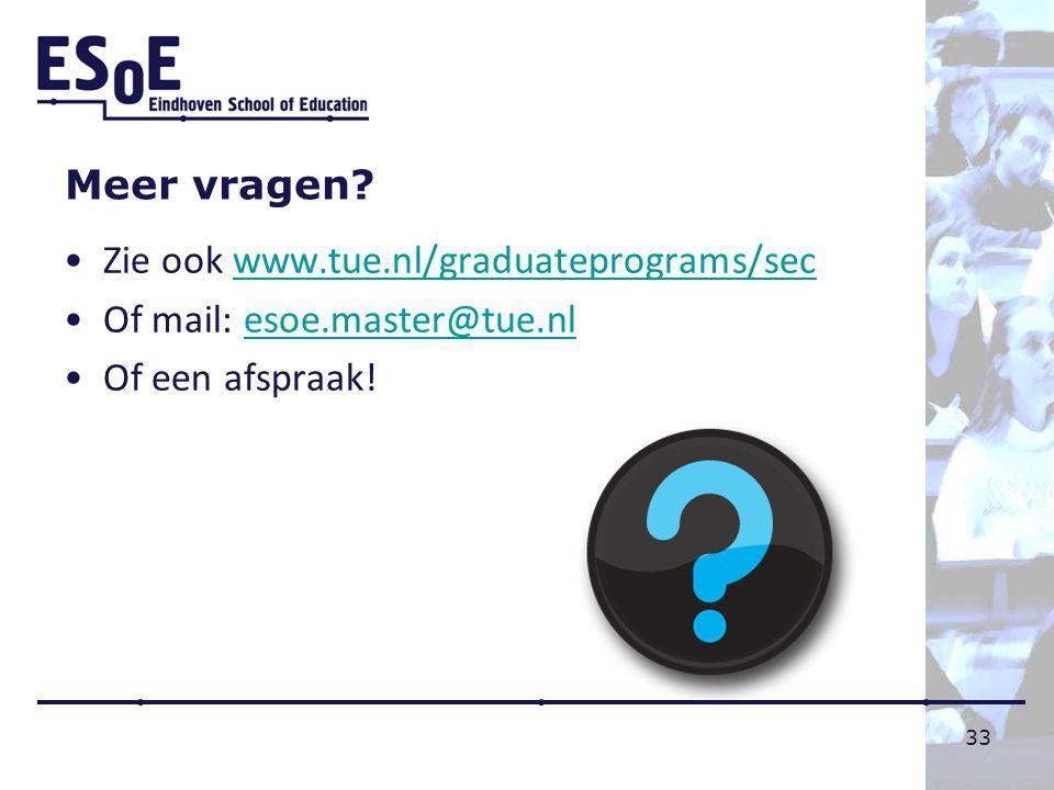 Meer vragen Zie ook www.tue.nl/graduateprograms/sec Of mail: esoe.master@tue.nl Of een afspraak!