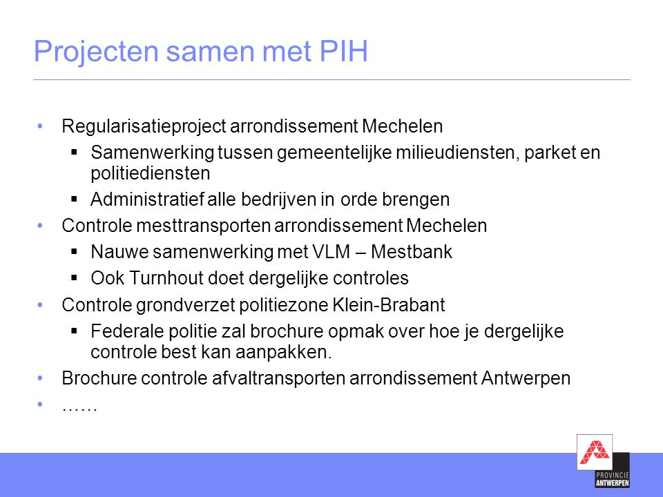 Projecten samen met PIH