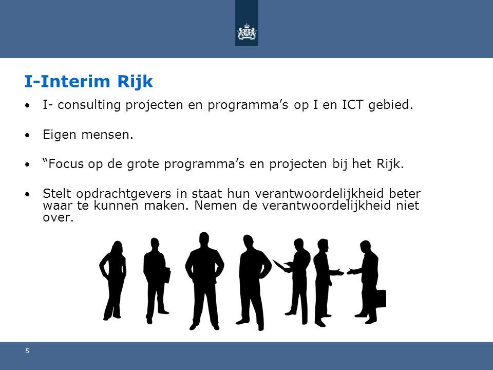 I-Interim Rijk I- consulting projecten en programma's op I en ICT gebied. Eigen mensen. Focus op de grote programma's en projecten bij het Rijk.