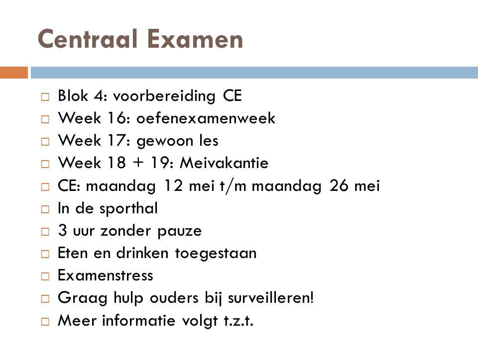 Centraal Examen Blok 4: voorbereiding CE Week 16: oefenexamenweek
