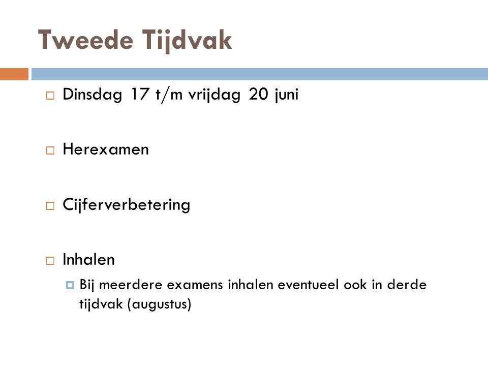 Tweede Tijdvak Dinsdag 17 t/m vrijdag 20 juni Herexamen