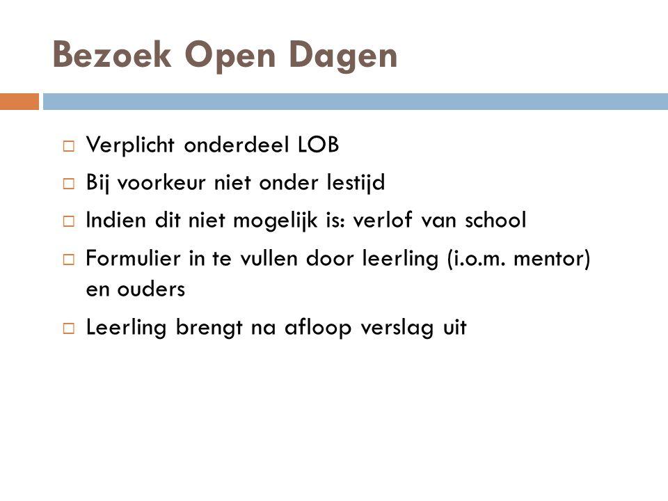 Bezoek Open Dagen Verplicht onderdeel LOB