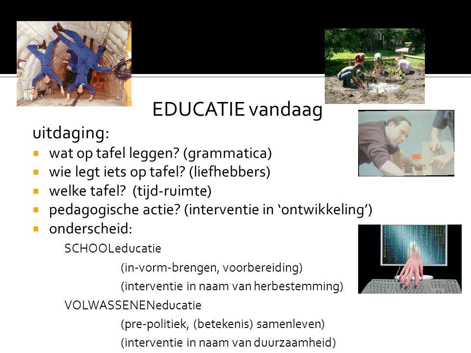 EDUCATIE vandaag uitdaging: wat op tafel leggen (grammatica)