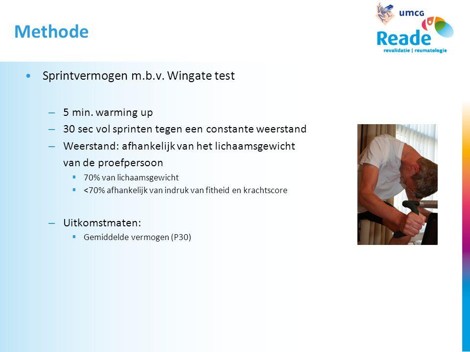 Methode Sprintvermogen m.b.v. Wingate test 5 min. warming up
