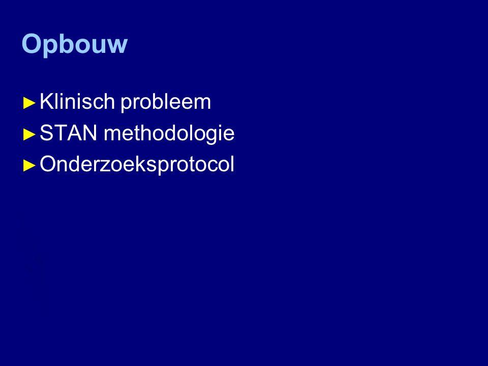 Opbouw Klinisch probleem STAN methodologie Onderzoeksprotocol