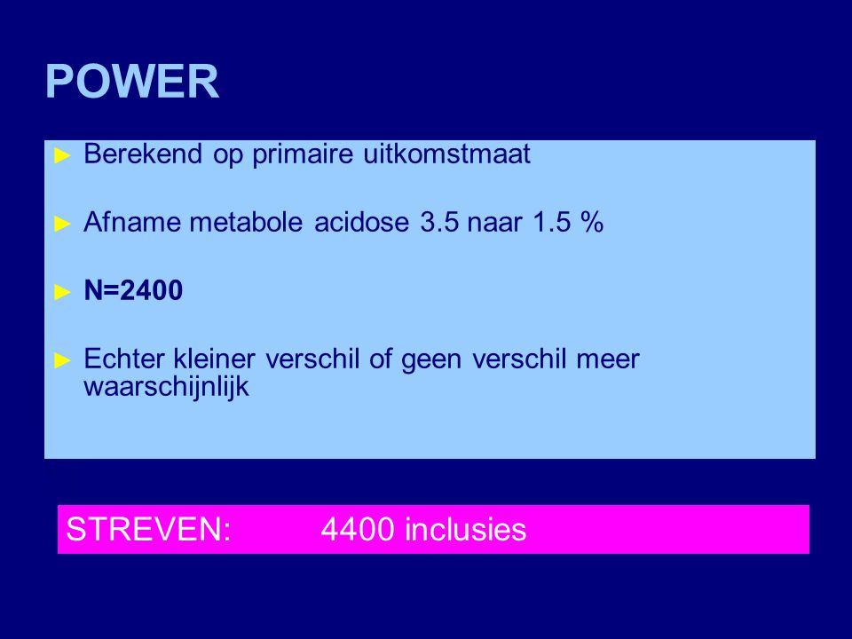 POWER STREVEN: 4400 inclusies Berekend op primaire uitkomstmaat