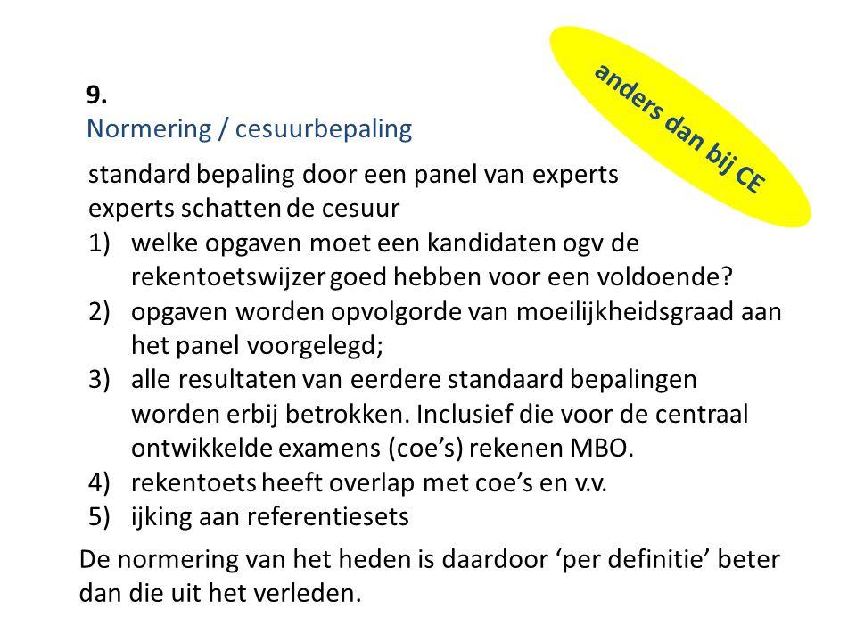 9. Normering / cesuurbepaling. anders dan bij CE. standard bepaling door een panel van experts. experts schatten de cesuur.