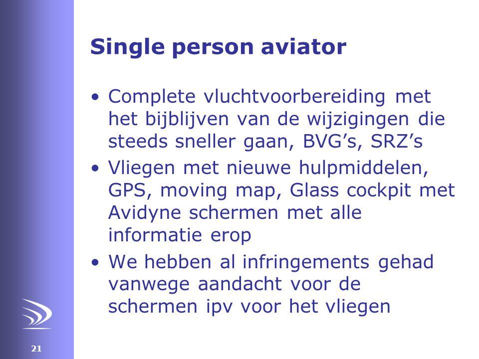 Single person aviator Complete vluchtvoorbereiding met het bijblijven van de wijzigingen die steeds sneller gaan, BVG's, SRZ's.