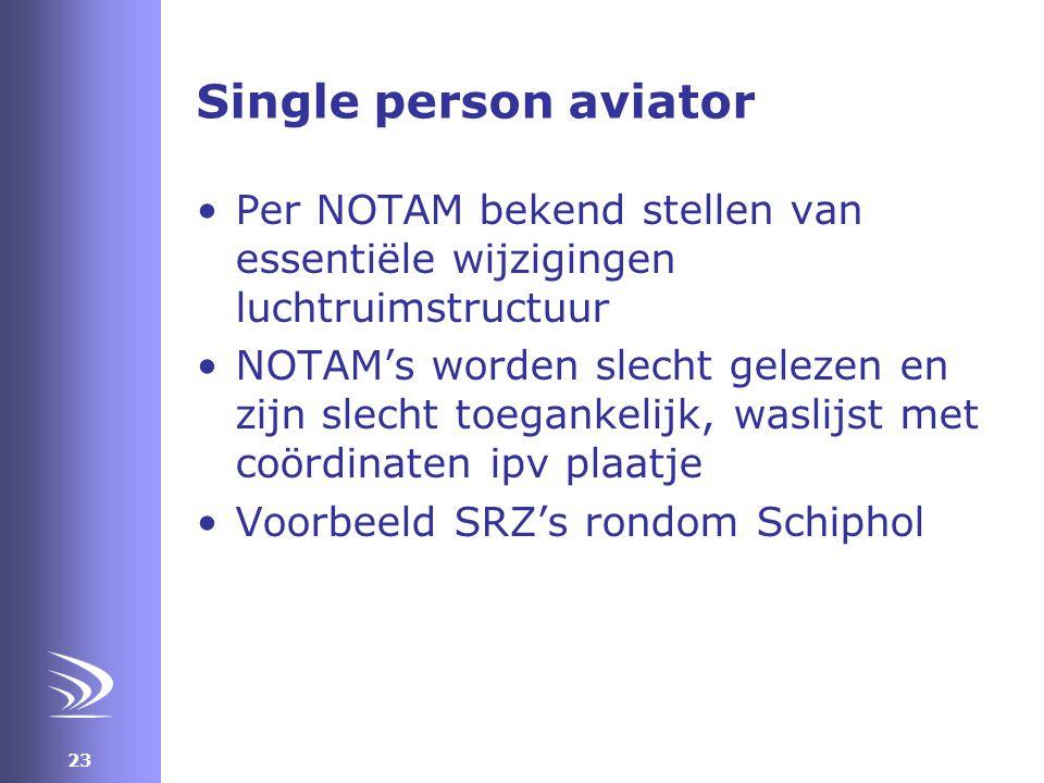 Single person aviator Per NOTAM bekend stellen van essentiële wijzigingen luchtruimstructuur.