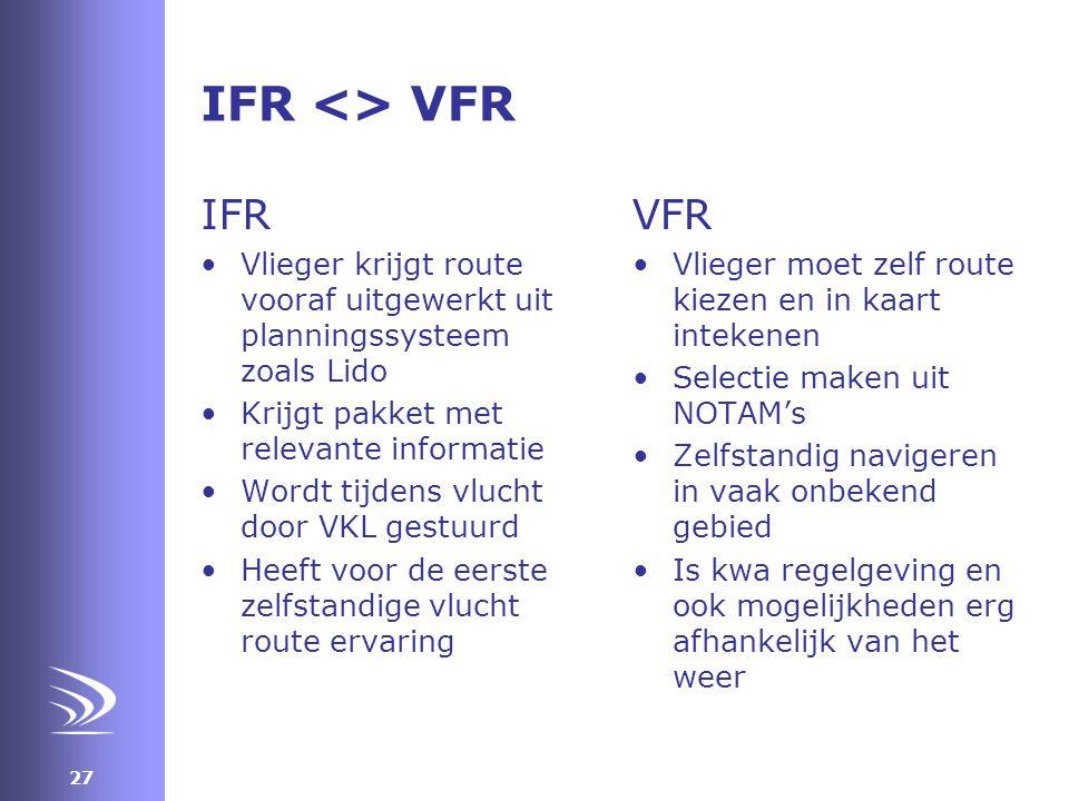 IFR <> VFR IFR VFR