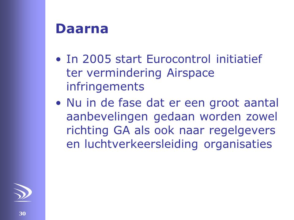 Daarna In 2005 start Eurocontrol initiatief ter vermindering Airspace infringements.