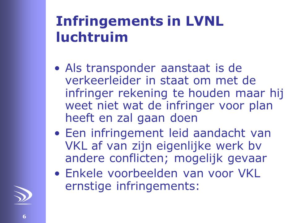 Infringements in LVNL luchtruim