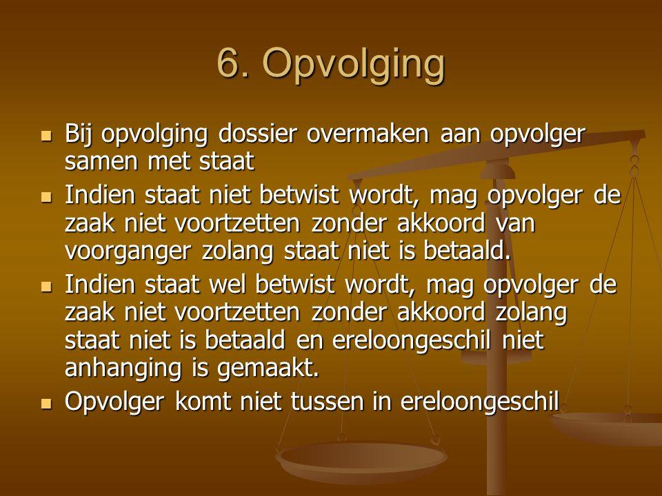 6. Opvolging Bij opvolging dossier overmaken aan opvolger samen met staat.