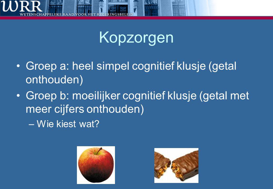 Kopzorgen Groep a: heel simpel cognitief klusje (getal onthouden)