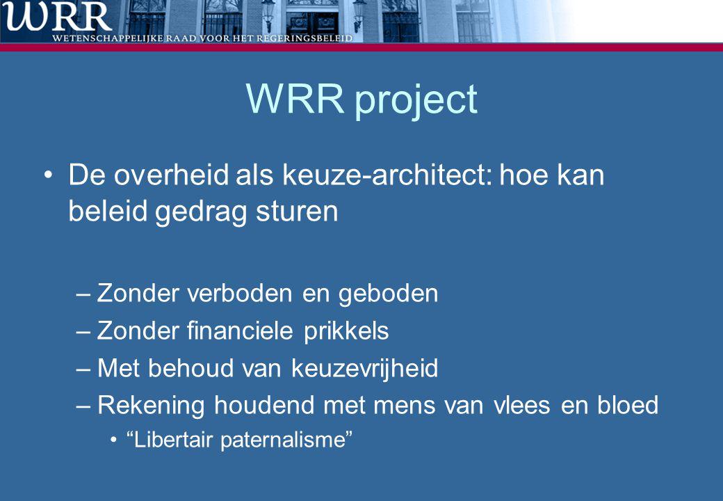 WRR project De overheid als keuze-architect: hoe kan beleid gedrag sturen. Zonder verboden en geboden.