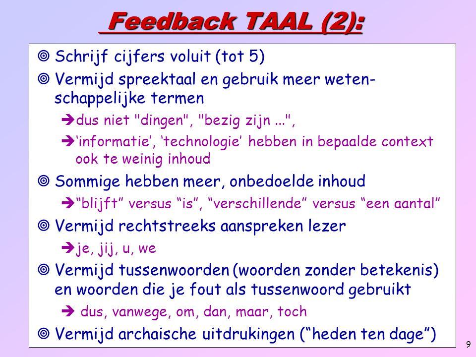Feedback TAAL (2): Schrijf cijfers voluit (tot 5)