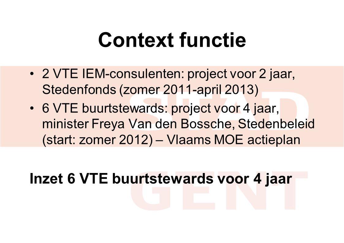 Context functie Inzet 6 VTE buurtstewards voor 4 jaar