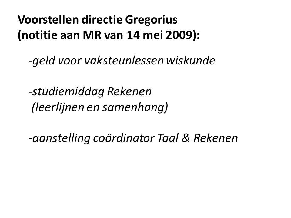 Voorstellen directie Gregorius (notitie aan MR van 14 mei 2009):