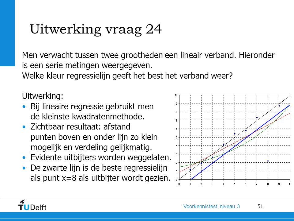 Uitwerking vraag 24 Men verwacht tussen twee grootheden een lineair verband. Hieronder is een serie metingen weergegeven.