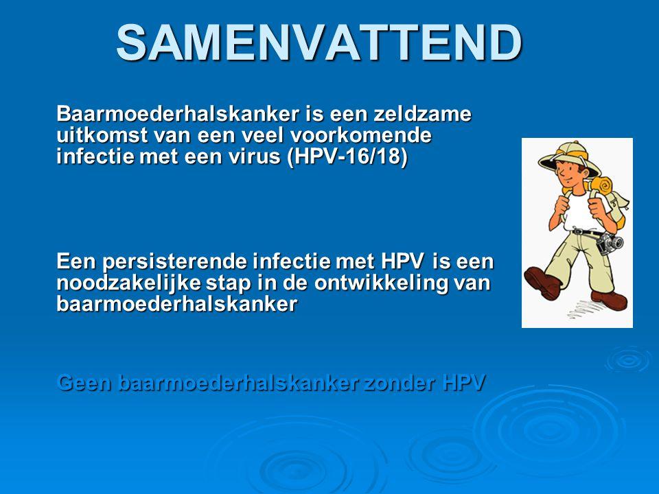 SAMENVATTEND Baarmoederhalskanker is een zeldzame uitkomst van een veel voorkomende infectie met een virus (HPV-16/18)