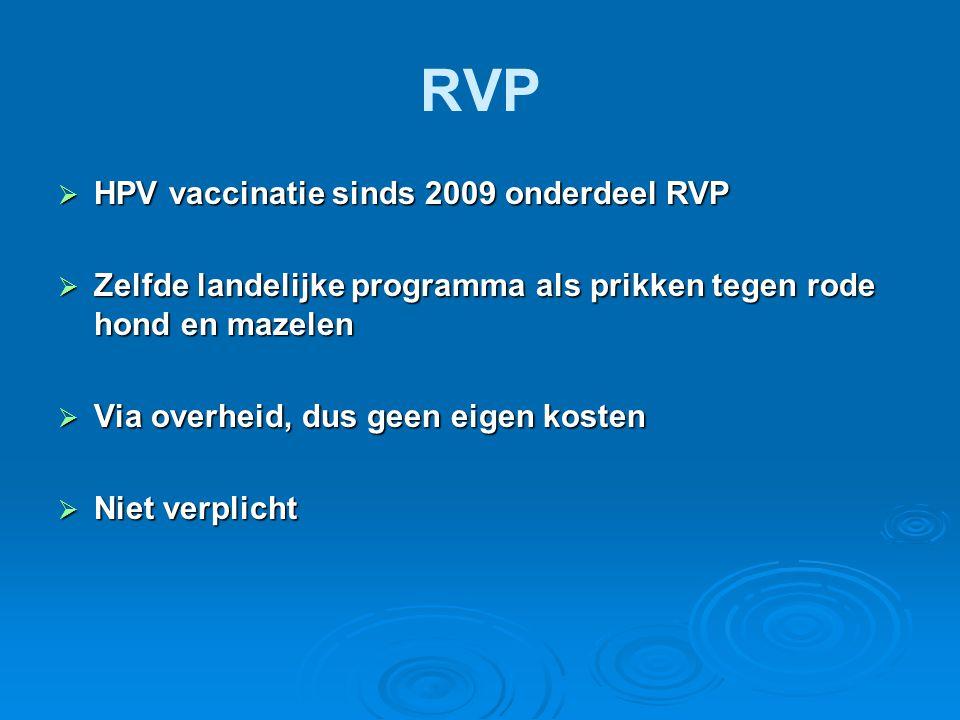 RVP HPV vaccinatie sinds 2009 onderdeel RVP