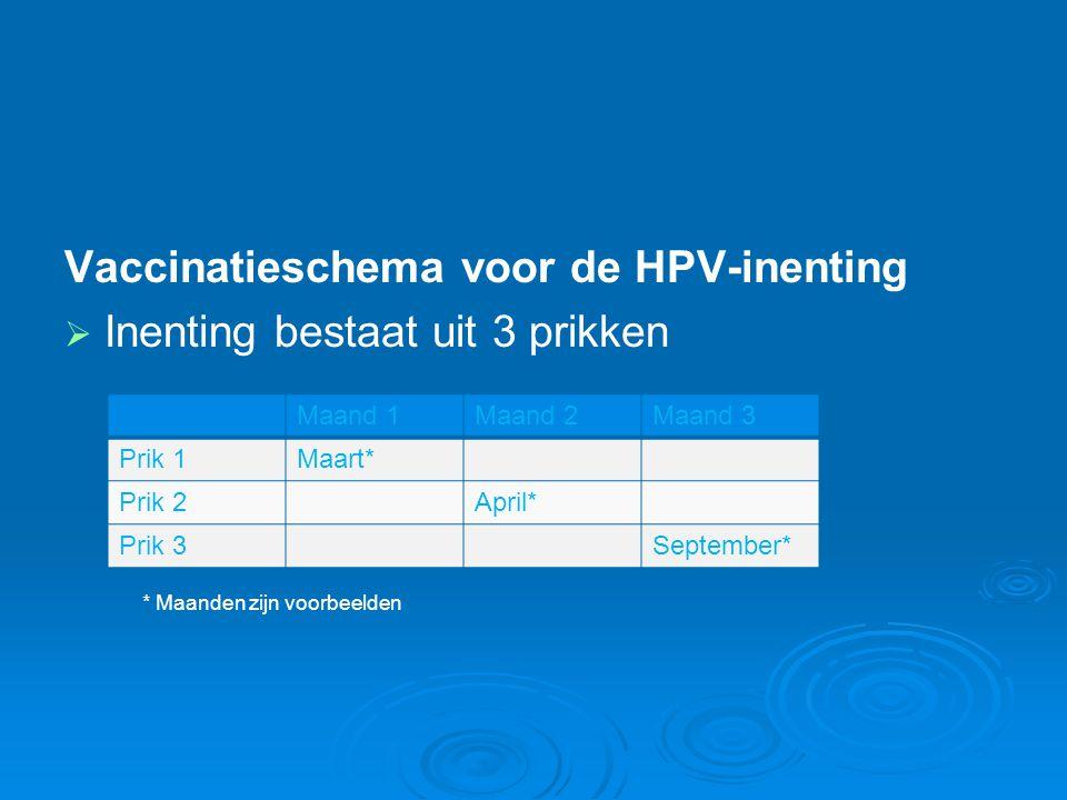 Vaccinatieschema voor de HPV-inenting Inenting bestaat uit 3 prikken