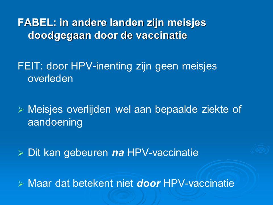 FABEL: in andere landen zijn meisjes doodgegaan door de vaccinatie