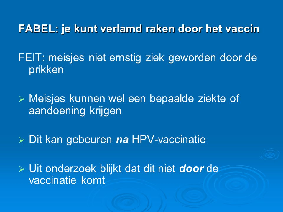 FABEL: je kunt verlamd raken door het vaccin