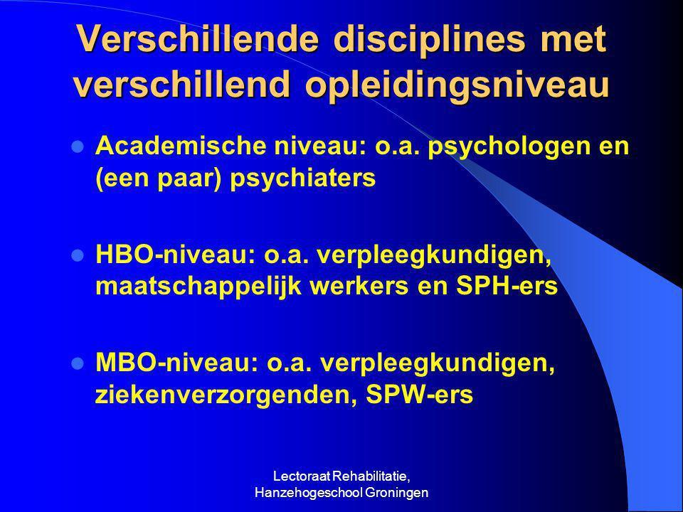 Verschillende disciplines met verschillend opleidingsniveau