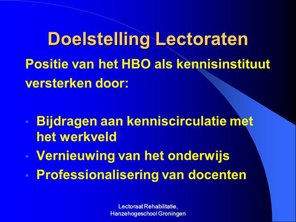 Doelstelling Lectoraten