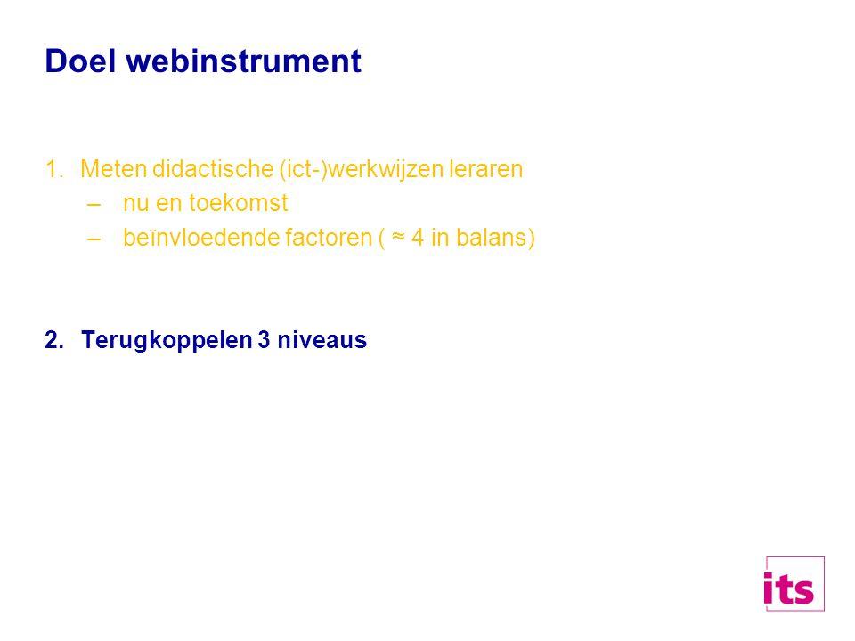 Doel webinstrument Meten didactische (ict-)werkwijzen leraren