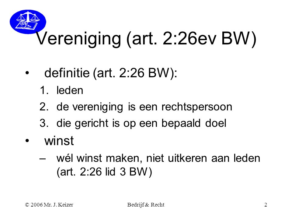 Vereniging (art. 2:26ev BW)