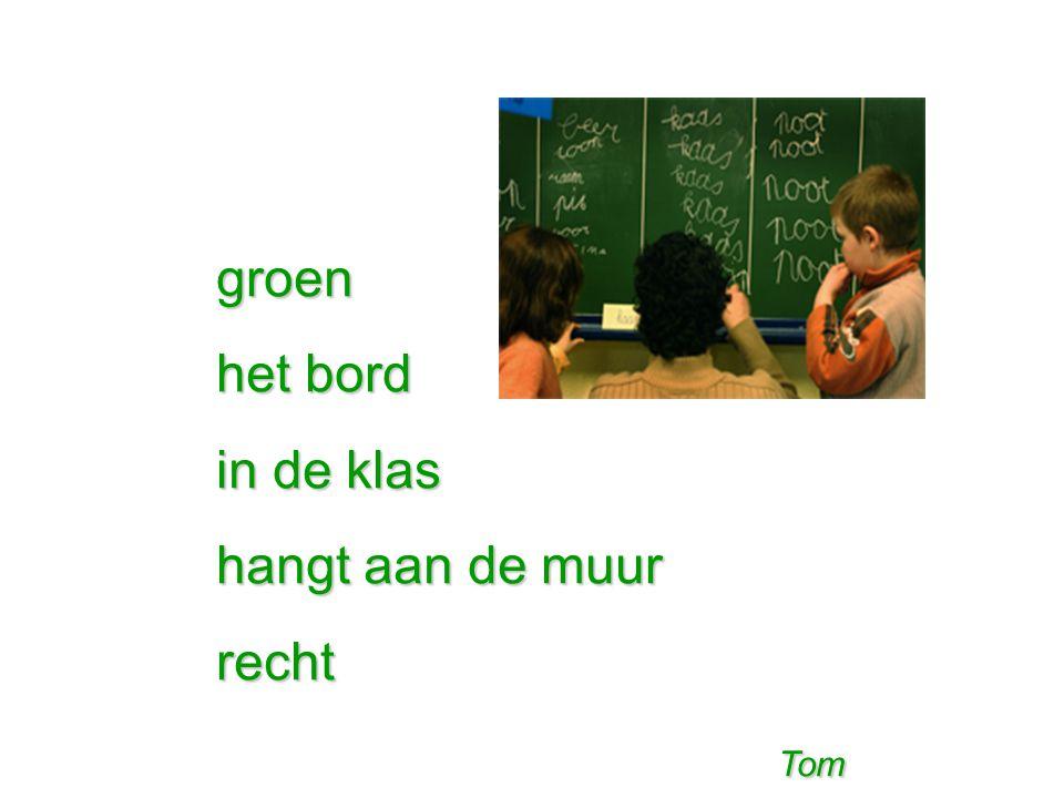 groen het bord in de klas hangt aan de muur recht Tom