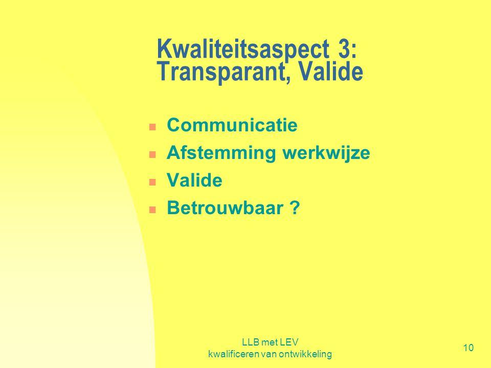 Kwaliteitsaspect 3: Transparant, Valide