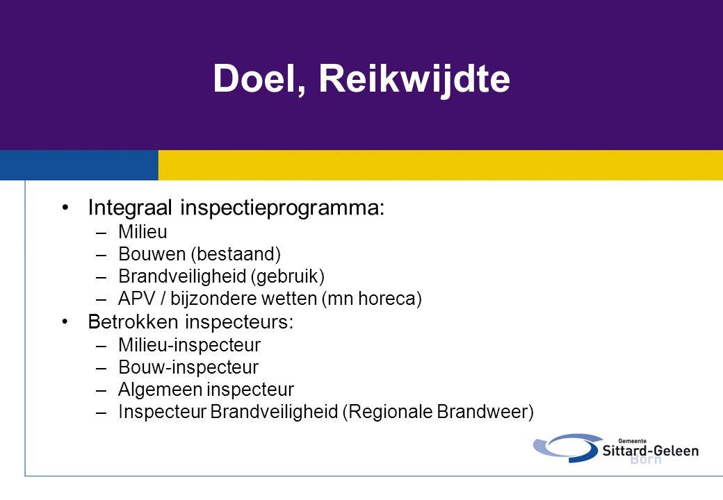Doel, Reikwijdte Integraal inspectieprogramma: Betrokken inspecteurs: