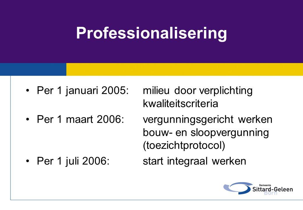 Professionalisering Per 1 januari 2005: milieu door verplichting kwaliteitscriteria.