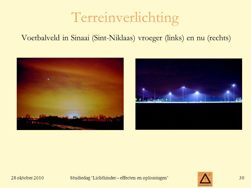 Terreinverlichting Voetbalveld in Sinaai (Sint-Niklaas) vroeger (links) en nu (rechts)