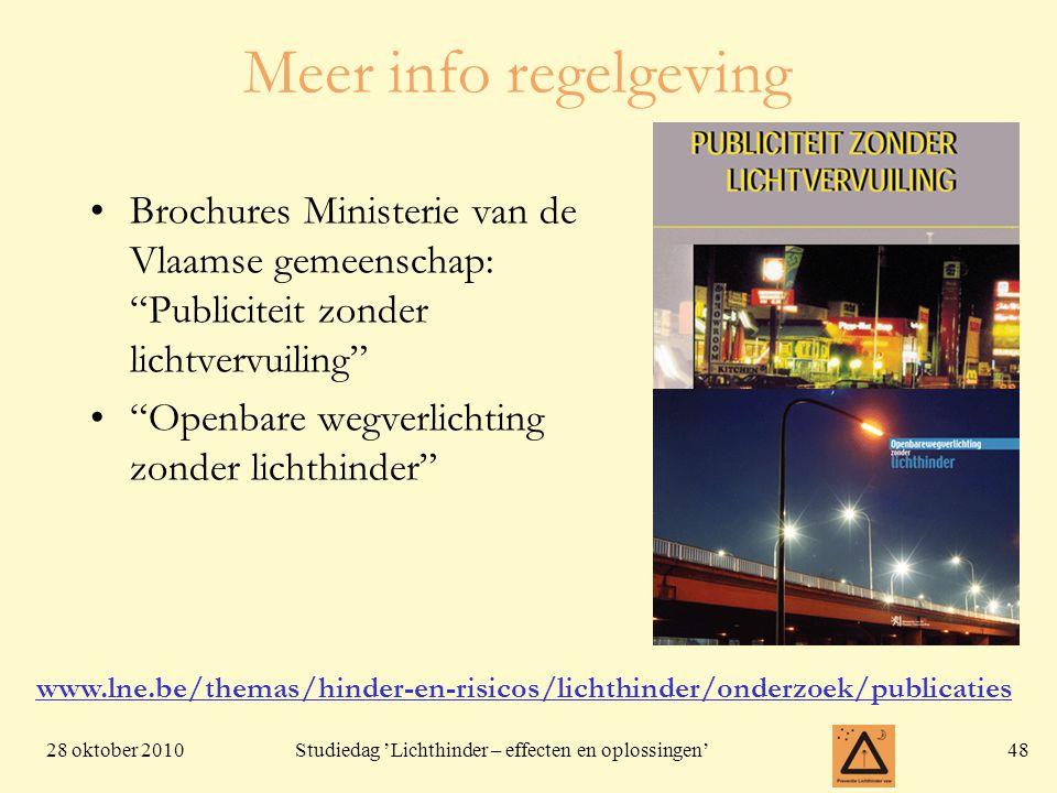 Meer info regelgeving Brochures Ministerie van de Vlaamse gemeenschap: Publiciteit zonder lichtvervuiling