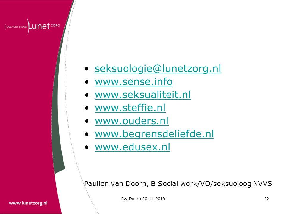 seksuologie@lunetzorg.nl www.sense.info www.seksualiteit.nl