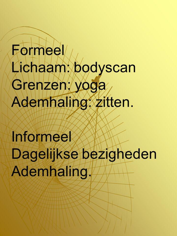 Formeel Lichaam: bodyscan Grenzen: yoga Ademhaling: zitten